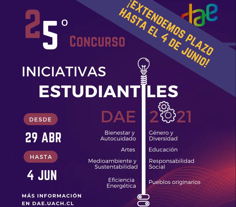 ¡Extendemos plazo!: 25º Convocatoria a Iniciativas Estudiantiles Online DAE 2021